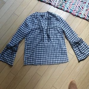 J. Crew Tops - J. Crew Embroidered bell-sleeve top in gingham
